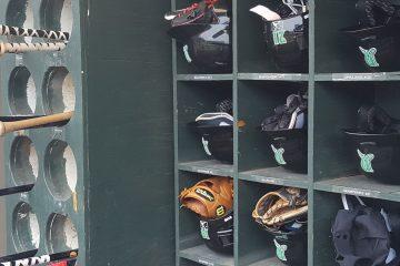 Dayton Dragons helmet bat rack
