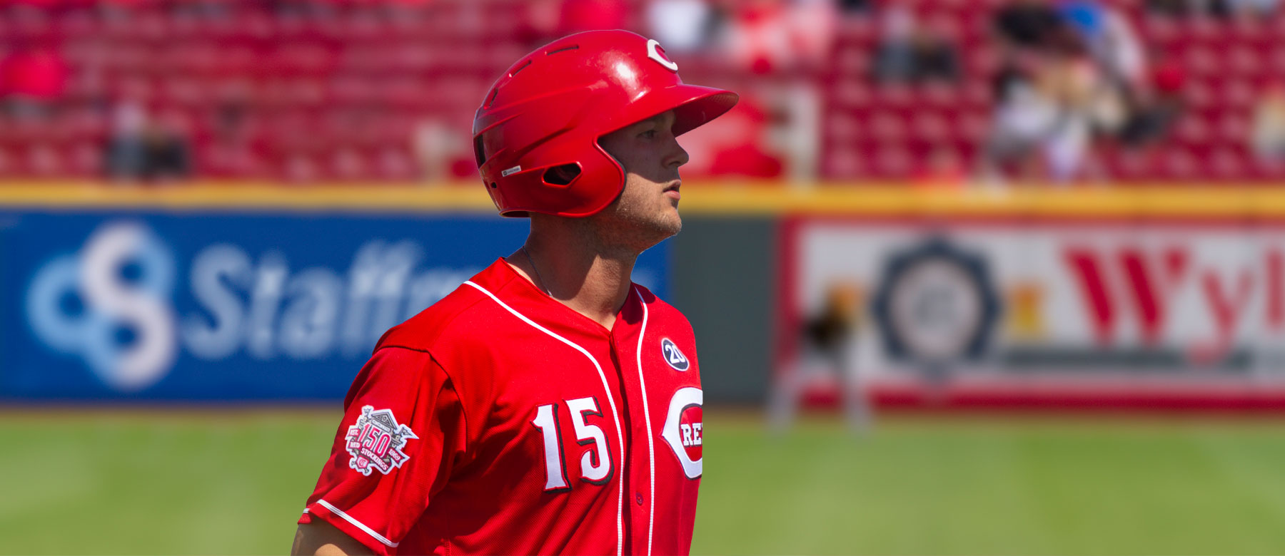 Reds outfielder Nick Senzel needs stitches after taking a ball to the face