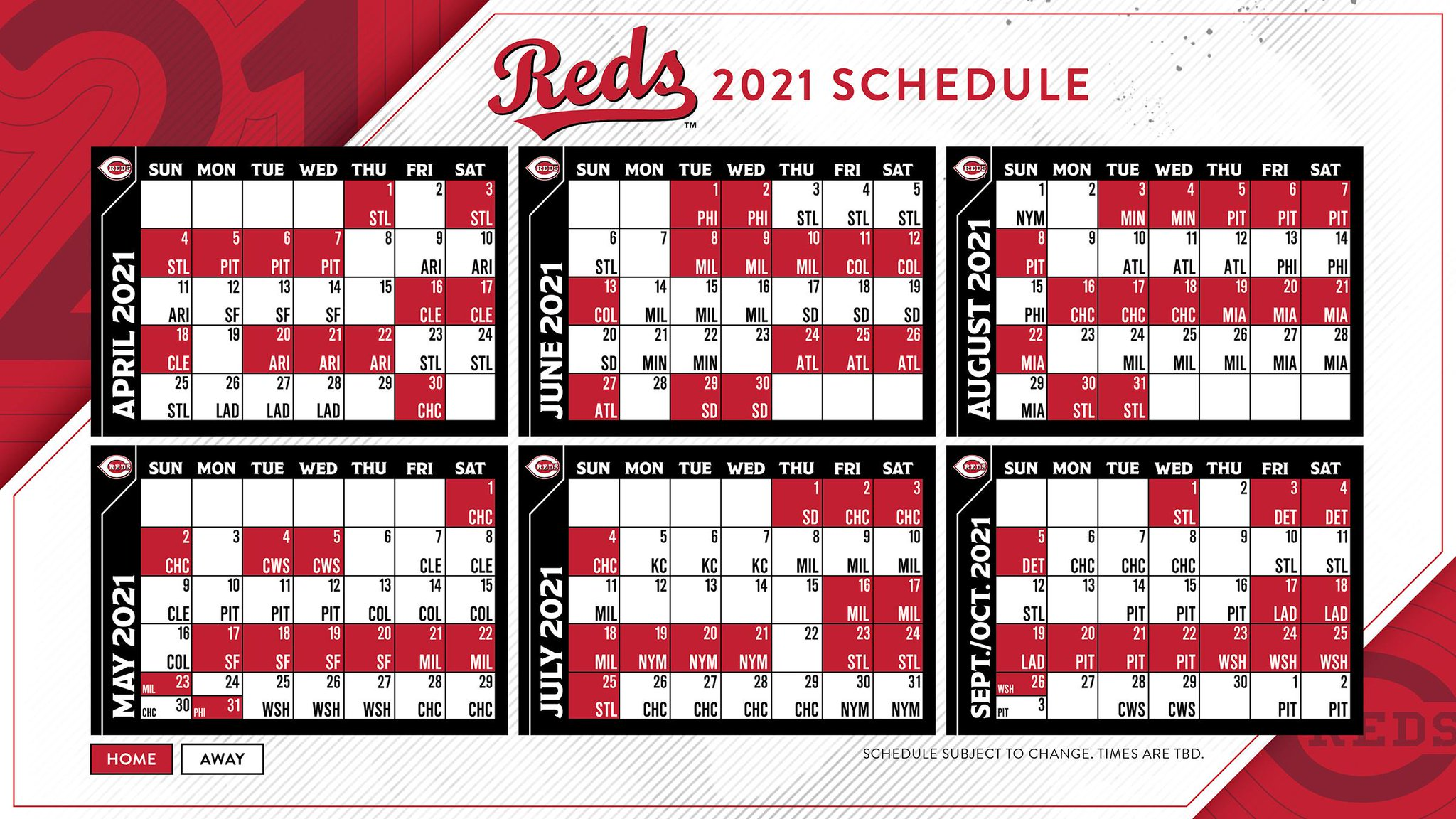 Reds Schedule 2022 Calendar.Cincinnati Reds Release The 2021 Season Schedule Redleg Nation